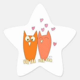 Cute little owls star sticker