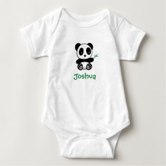 Cute Little Panda with a Bamboo Stick Baby Bodysuit