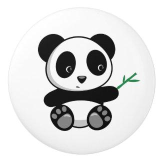 Cute Little Panda with a Bamboo Stick Ceramic Knob