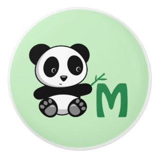 Cute Little Panda with a Bamboo Stick Monogram Ceramic Knob