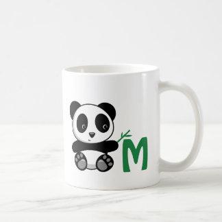 Cute Little Panda with a Bamboo Stick Monogram Coffee Mug