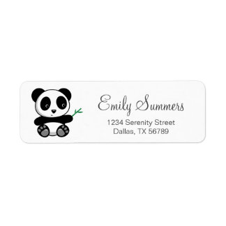 Cute Little Panda with a Bamboo Stick Return Address Label