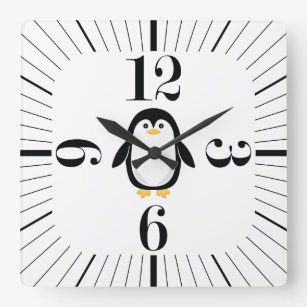 Cute Little Penguin Modern Retro Square Wall Clock