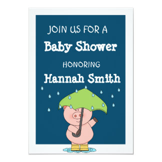 Cute little pig Baby Shower 13 Cm X 18 Cm Invitation Card