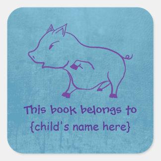 Cute little Piggy for boys - Book Belongs To Square Sticker