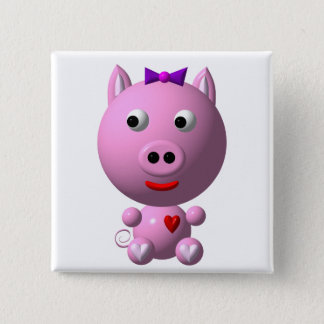 Cute little piggy with hearts and bow! 15 cm square badge