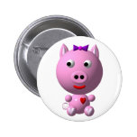 Cute little piggy with hearts and bow! buttons