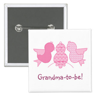 Cute Little Pink Grandma to be,  Birds Baby Shower 15 Cm Square Badge