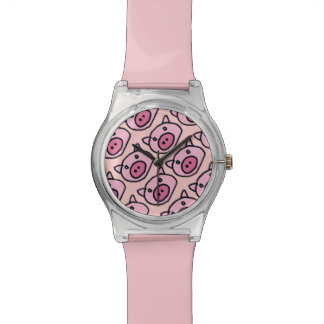 cute little pink pig wrist watch