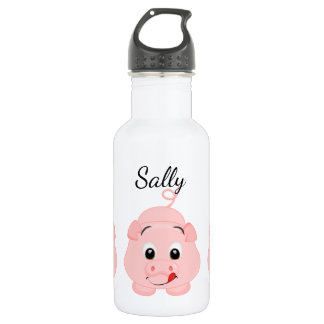 Cute Little Pink Piggy Personalised 532 Ml Water Bottle