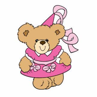 Cute Little Pink Princess Bear Standing Photo Sculpture
