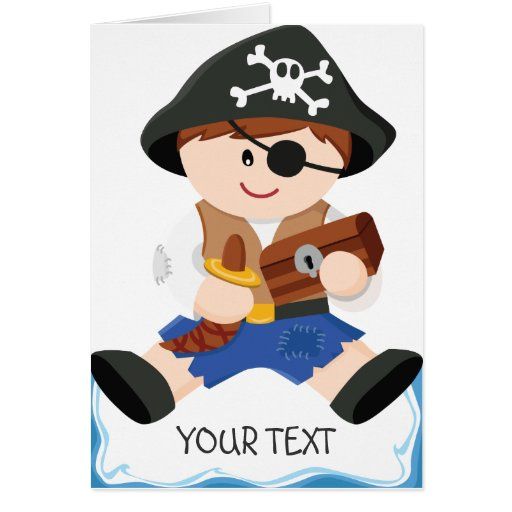 Cute little pirate brown hair greeting cards
