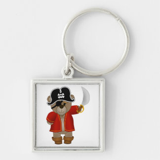 Cute Little Pirate Captain Teddy Bear Cartoon Silver-Colored Square Key Ring