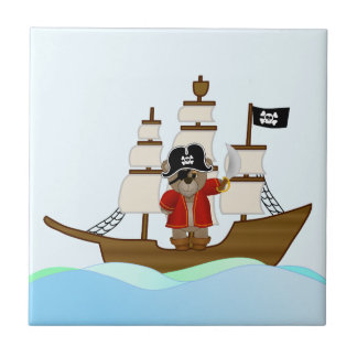 Cute Little Pirate Captain Teddy Bear Cartoon Small Square Tile