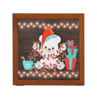 Cute Little Polar Bear with Christmas Lights Desk Organiser