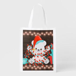 Cute Little Polar Bear with Christmas Lights Reusable Grocery Bag