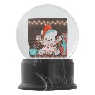 Cute Little Polar Bear with Christmas Lights Snow Globe