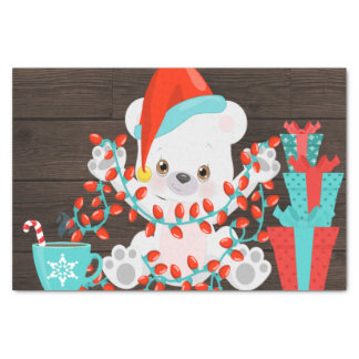 Cute Little Polar Bear with Christmas Lights Tissue Paper