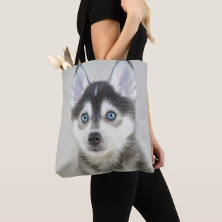 Cute Little Pomsky Puppy Tote Bag