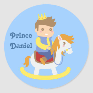 Cute Little Prince on Rocking Horse, for Boys Classic Round Sticker