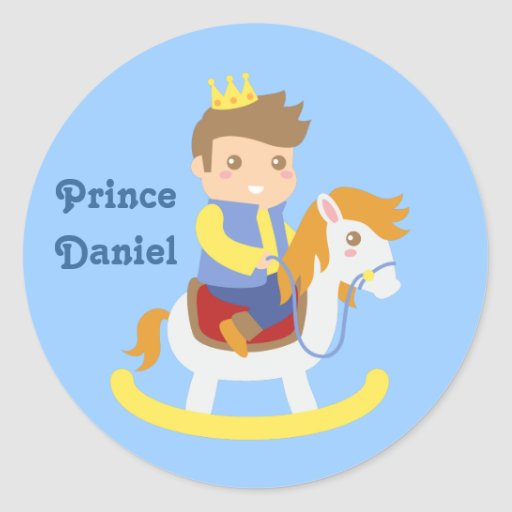 Cute Little Prince on Rocking Horse, for Boys Sticker