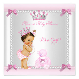 Cute Little Princess Baby Shower Girl Brunette Card