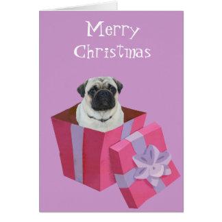 Cute little Pug Present Greeting Card