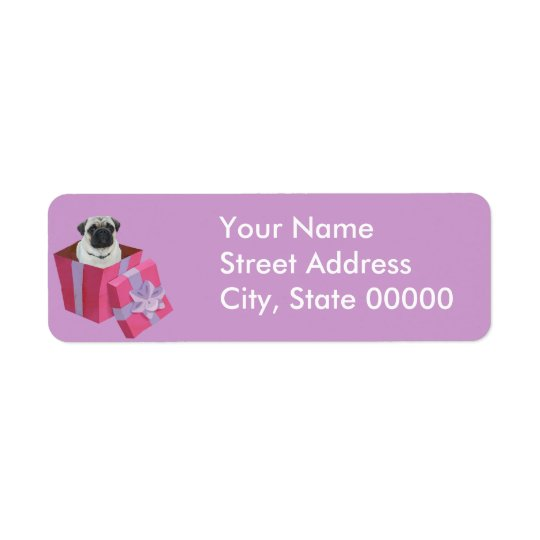 Cute little Pug Present Return Address Label
