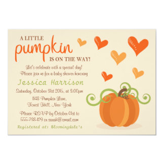 little pumpkin baby shower cards invitations