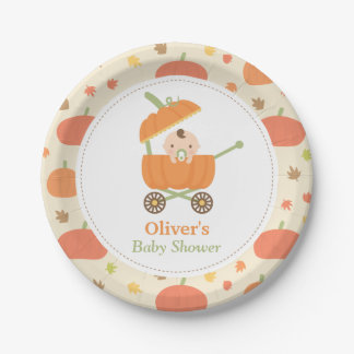 Cute Little Pumpkin Carriage Baby Shower Plates 7 Inch Paper Plate