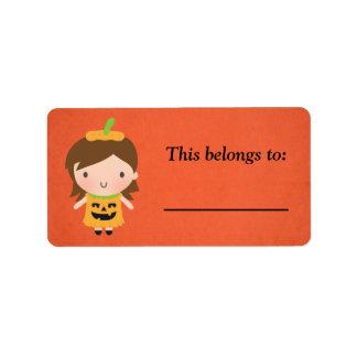 Cute Little Pumpkin Girl Kids Halloween Address Label