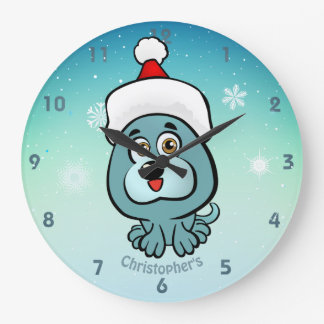 Cute Little Puppy With Christmas Hat Cartoon Large Clock