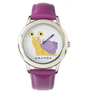 Cute Little purple SNAIL Personalized Watch