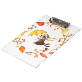 Cute Little Raccoon With Umbrella in Leafy Wreath Clipboard