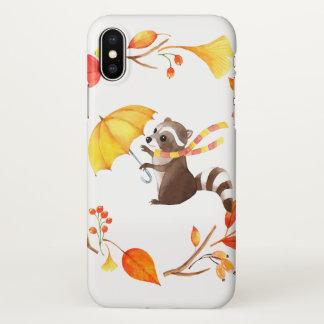 Cute Little Raccoon With Umbrella in Leafy Wreath iPhone X Case