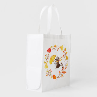 Cute Little Raccoon With Umbrella in Leafy Wreath Reusable Grocery Bag