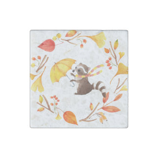 Cute Little Raccoon With Umbrella in Leafy Wreath Stone Magnet