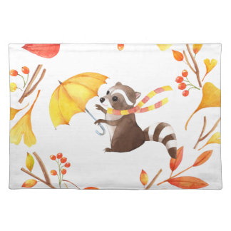 Cute Little Racoon With Umbrella in Leafy Wreath Placemat