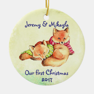 """Cute Little Red Foxes """"Our First Christmas"""" Ceramic Ornament"""