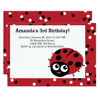 Cute LITTLE RED LADYBUG Animals Birthday Card