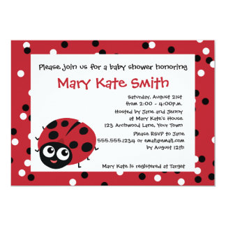 Cute Little Red Ladybug BABY SHOWER BIRTHDAY Card