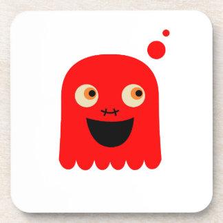 Cute little  Red monster on white Coaster