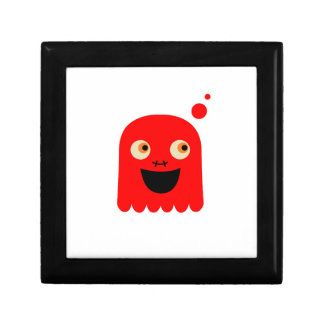 Cute little  Red monster on white Gift Box