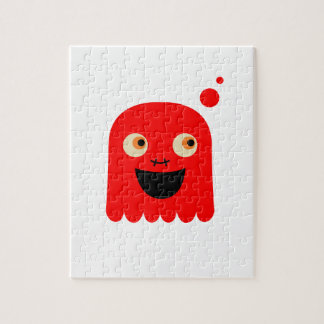 Cute little  Red monster on white Jigsaw Puzzle