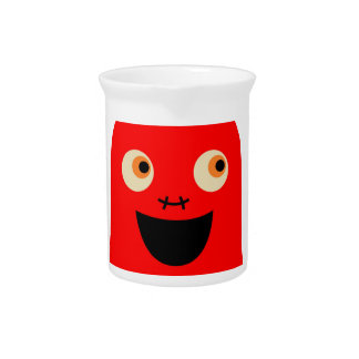 Cute little  Red monster on white Pitcher