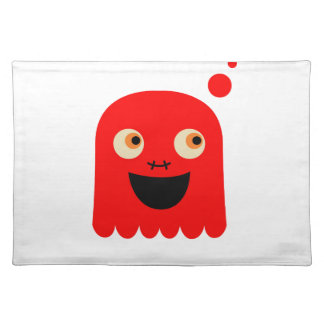 Cute little  Red monster on white Placemat