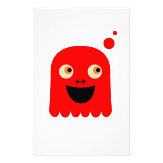 Cute little  Red monster on white Stationery