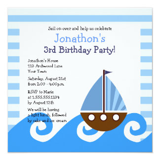 Cute Little Sailboat Blue Birthday Invite 5.25""