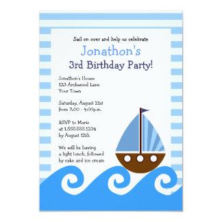 Cute Little Sailboat Blue Birthday Invite 5x7