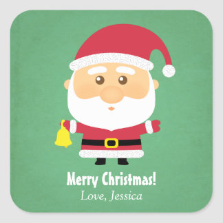 Cute Little Santa Claus Christmas Cheer Square Sticker